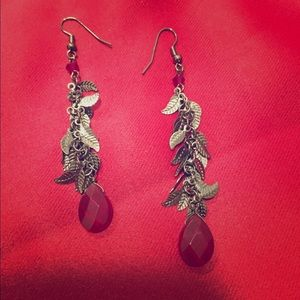 Jewelry - Red and silver drop earrings
